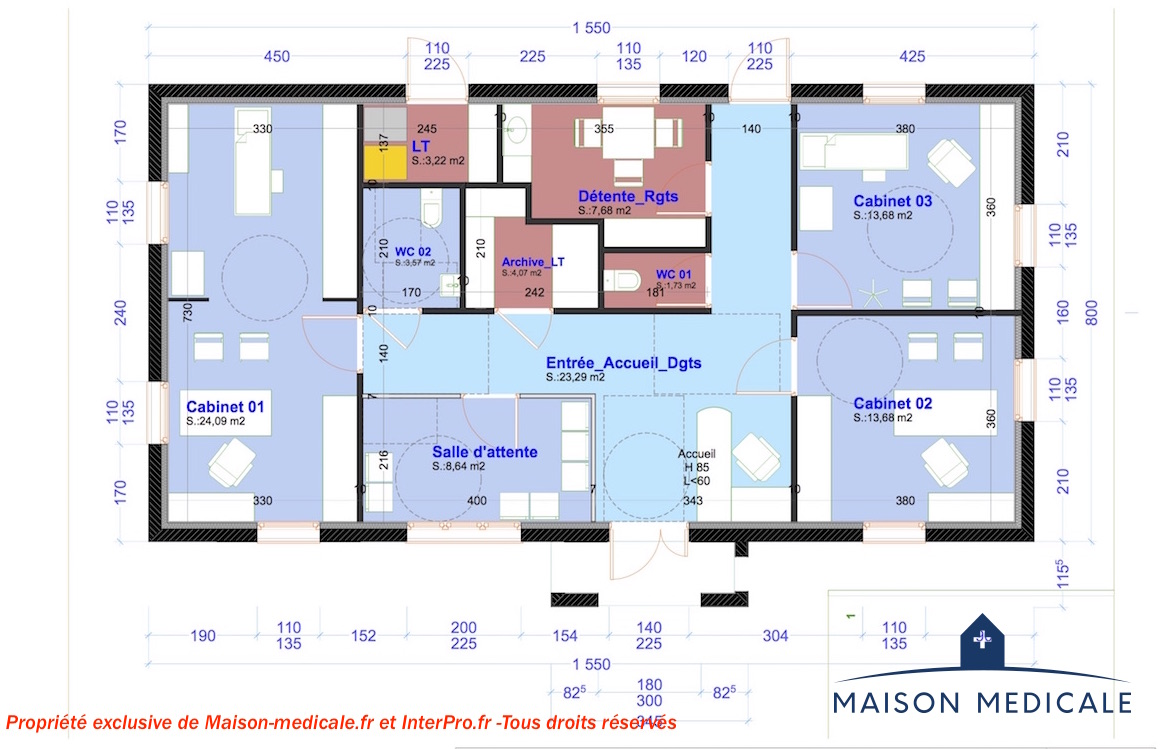 Plan maison m dicale traditionnelle for Bureau de maison design