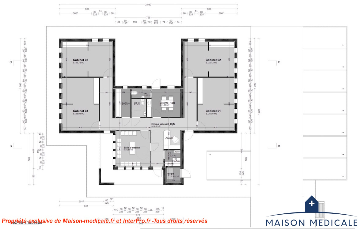 Plan maison m dicale contemporaine for Plan interieur maison en l